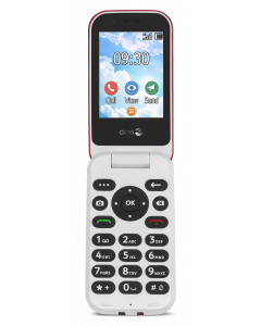 DUMMIE 7030 - 4G Klaptelefoon (Rood-Wit)