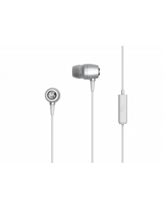 Earbuds metal - audio oortjes met microfoon 3,5mm Zilver
