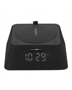 Q-Box FM Wekker - Bluetooth Luidspreker - Qi Powerbank (Zwart)